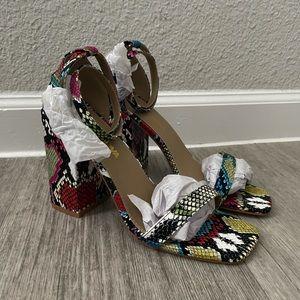 NEW Women's multi-colored snakeskin heels